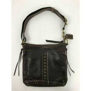 Black Leather Coach Shoulder Purse Hand Bag